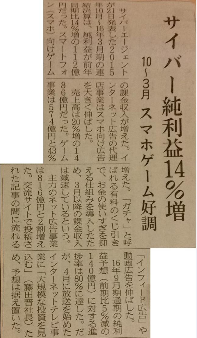 サイバーエージェント純利益14%増